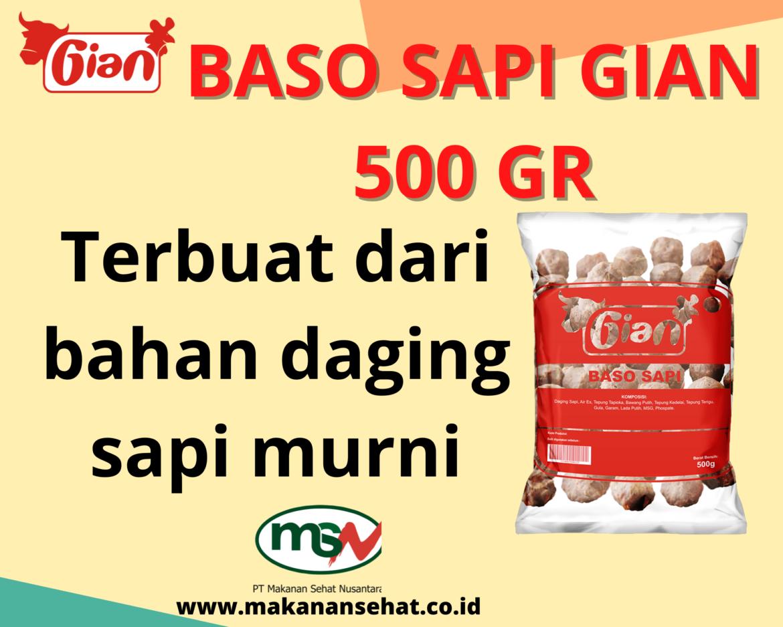 Baso Sapi Gian 500 Gr  Terbuat dari bahan daging sapi murni.