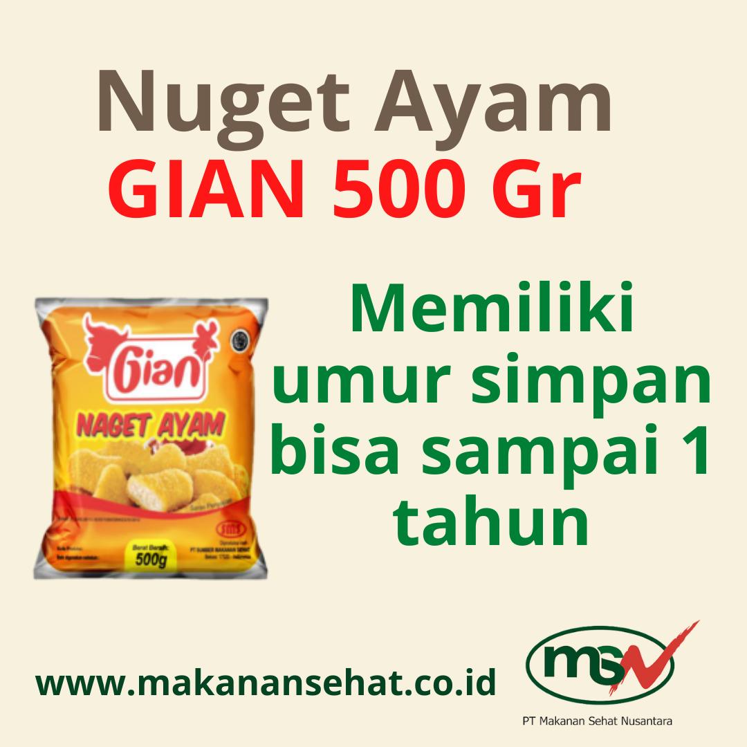 Nugget Ayam Gian 500 Gr Memiliki umur simpan bisa sampai 1 tahun