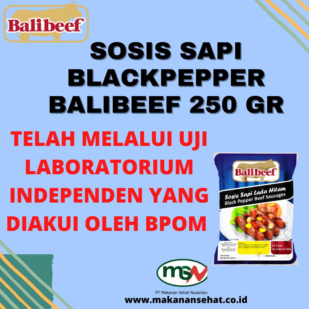 Sosis Sapi Blackpepper Balibeef 250 Gr telah melalui uji laboratorium independen yang diakui BPOM