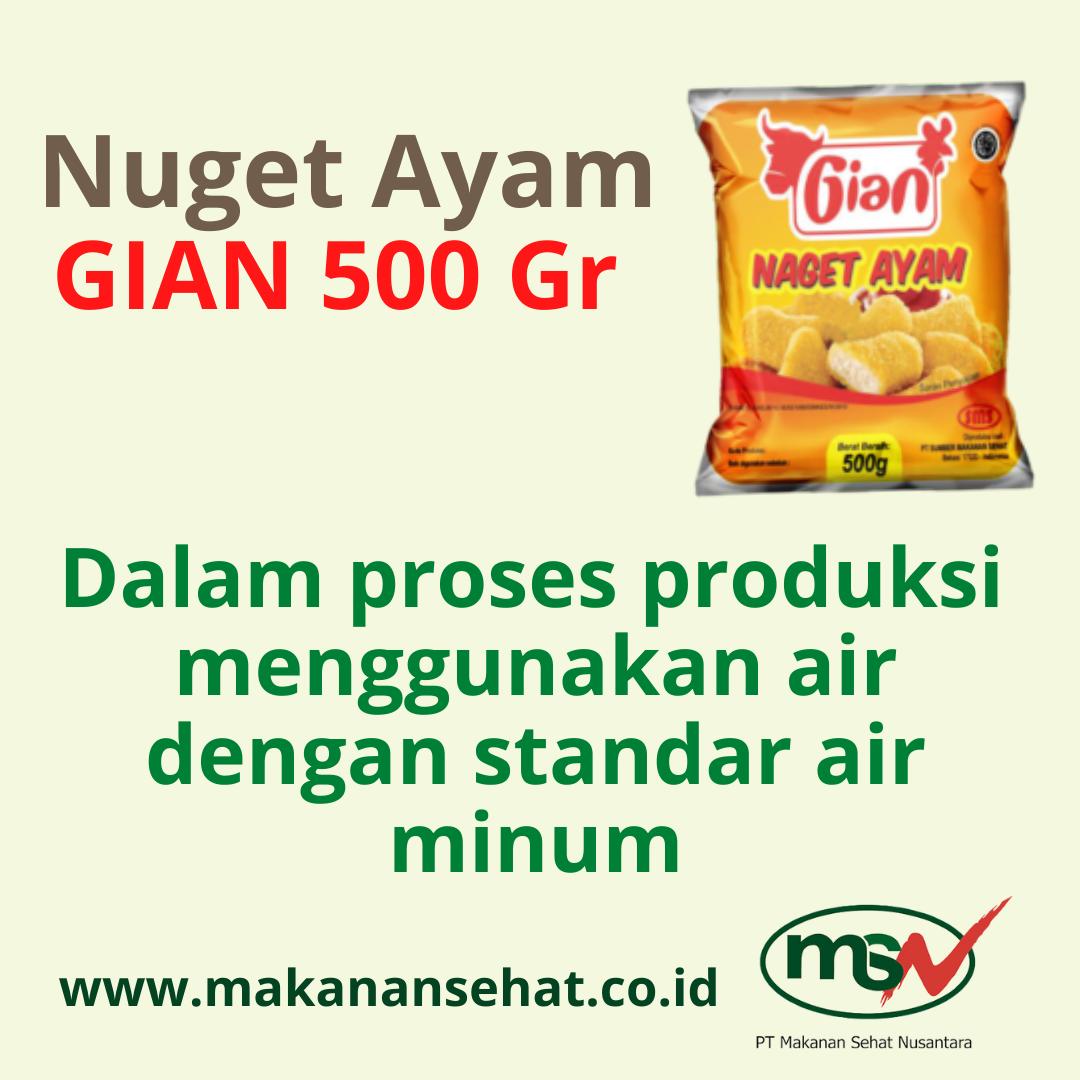 Nugget Ayam Gian 500 Gr dalam proses produksi menggunakan air dengan standar air minum