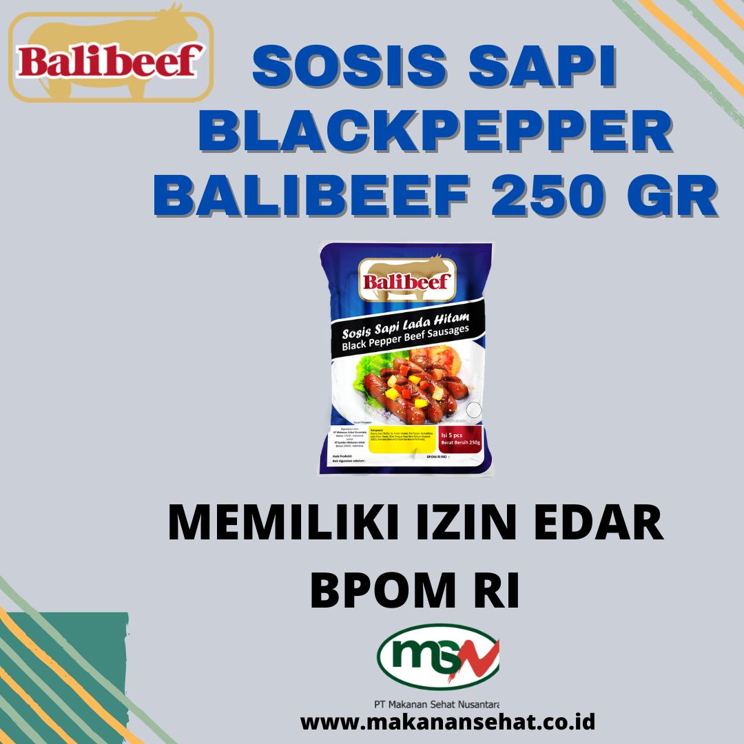 Sosis Sapi Blackpepper Balibeef 250 Gr memiliki izin edar BPOM RI