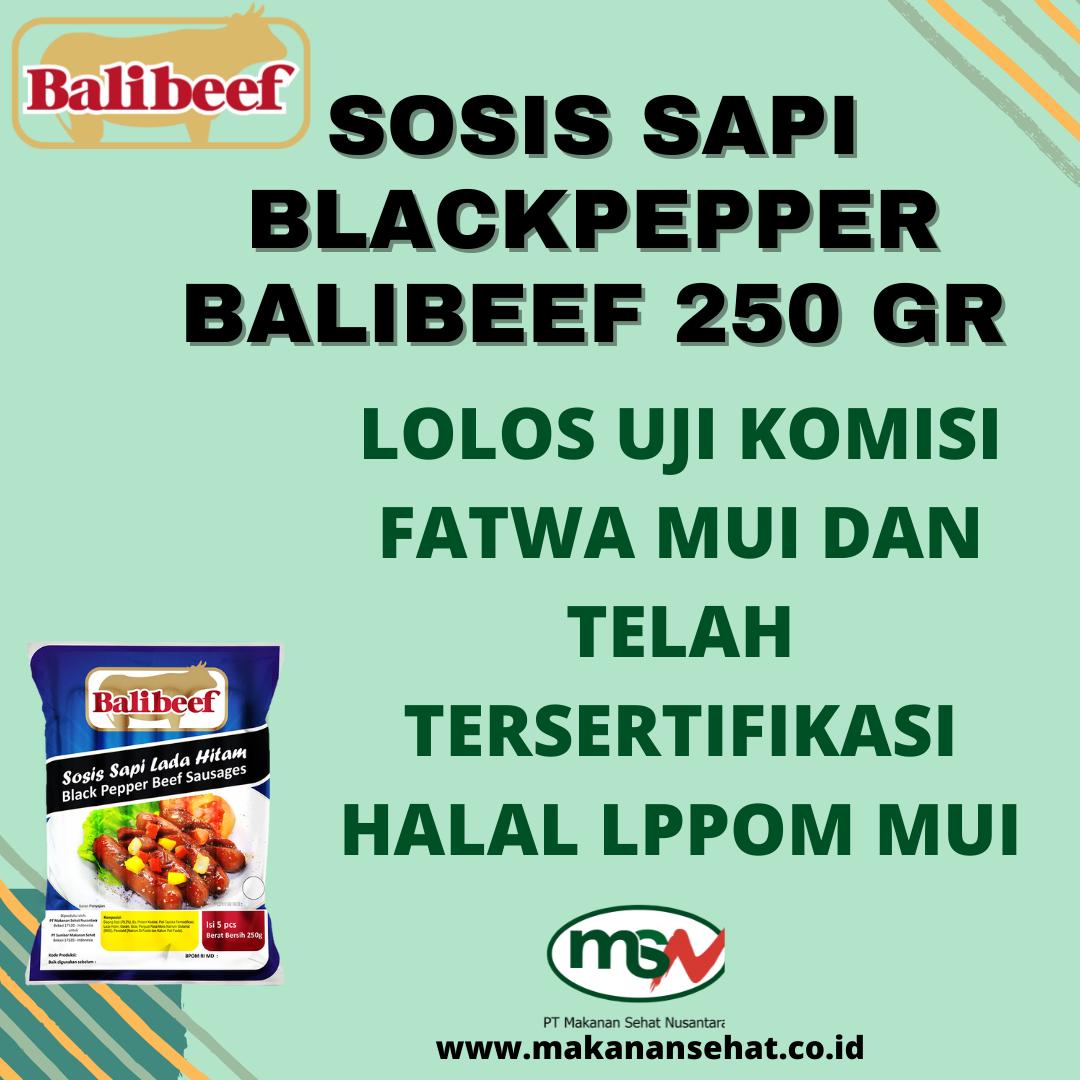 Sosis Sapi Blackpepper Balibeef 250 Gr lolos uji komisi fatwa MUI dan telah tersertifikasi halal LPPOM MUI