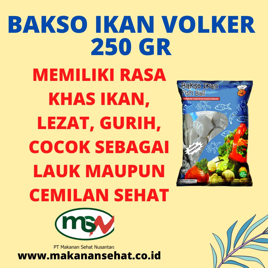 Bakso Ikan Volker 250 Gr rasanya lezat, gurih, cocok sebagai lauk maupun sebagai camilan sehat