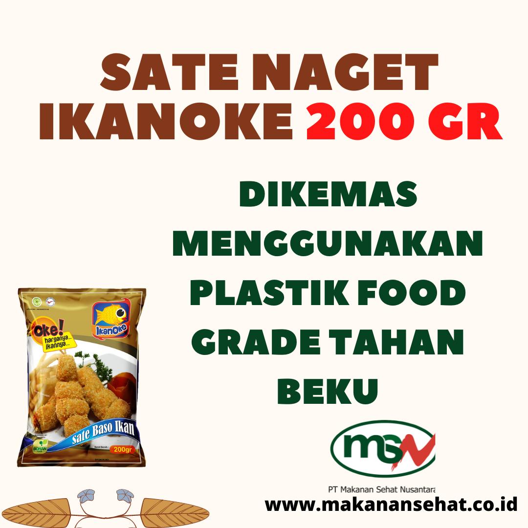 Sate Naget Ikanoke 200 Gr dikemas menggunakan plastik food grade tahan beku