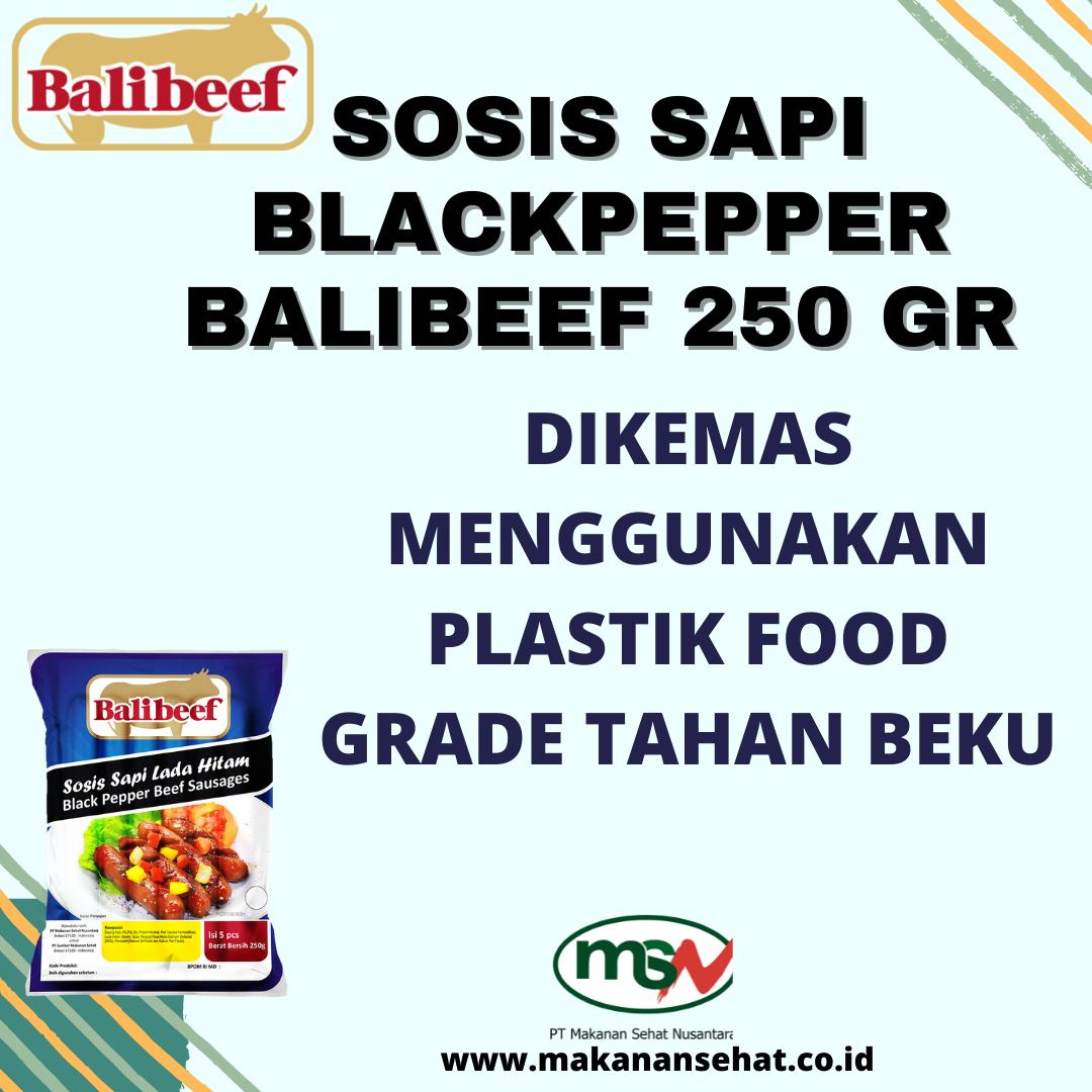 Sosis Sapi Blackpepper Balibeef 250 Gr dikemas menggunakan plastik food grade tahan beku