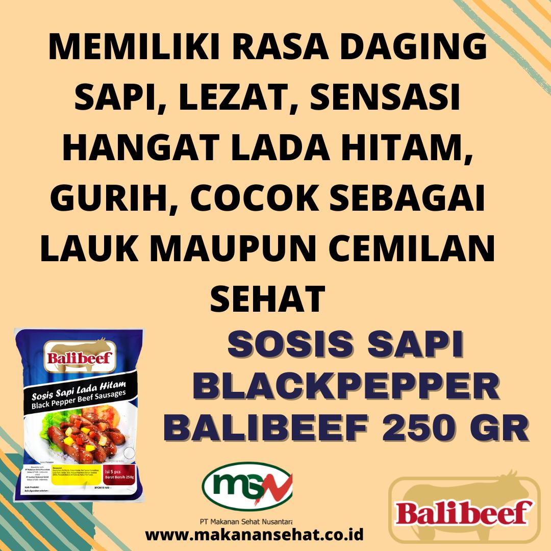 Sosis Sapi Blackpepper Balibeef 250 Gr memiliki rasa daging sapi, lezat, sensasi hangat lada hitam dan gurih