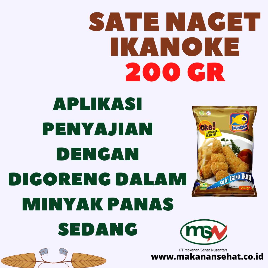 Sate Naget Ikanoke 200 Gr aplikasi penyajian dengan digoreng dalam minyak panas sedang