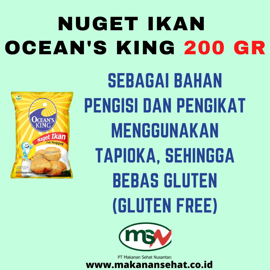 Naget Ikan Ocean's King 200 Gr dengan bahan pengikat menggunakan tapioka, sehingga bebas gluten (gluten free)