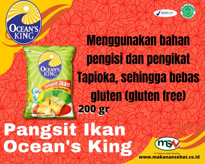 Pangsit Ikan Ocean's King 200 Gr menggunakan bahan pengikat Tapioka, sehingga bebas gluten (gluten free)