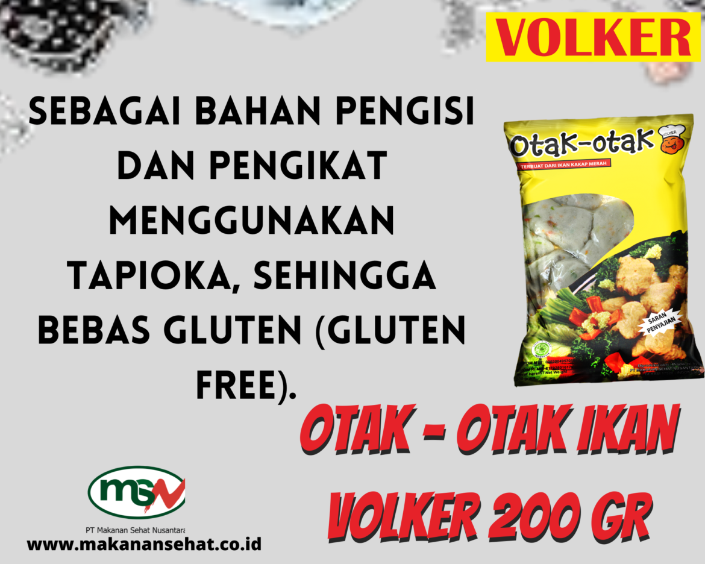 Otak – Otak Ikan Volker 250 Gr dengna bahan pengikat menggunakan tapioka, sehingga bebas gluten (gluten free)