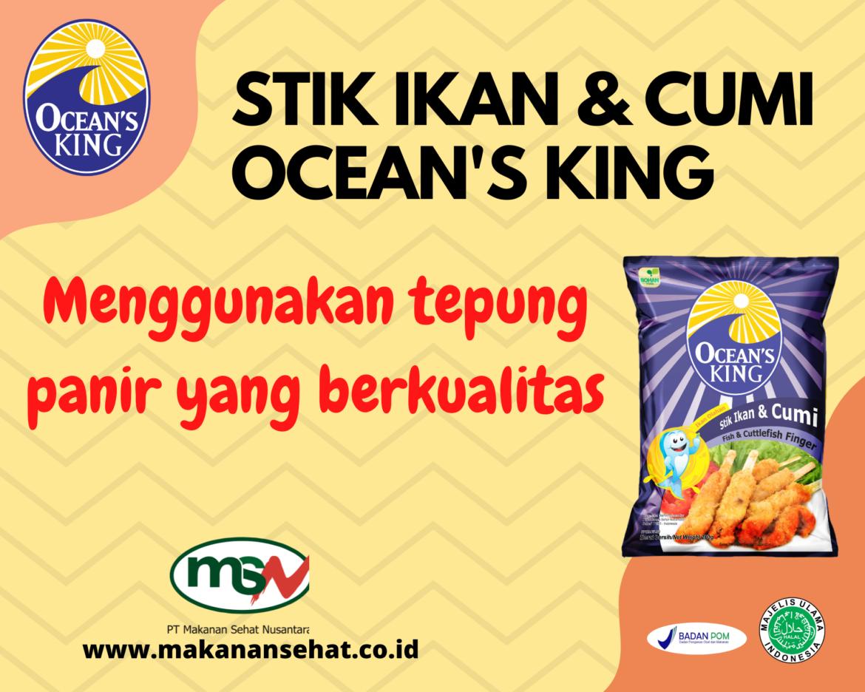 Stik Ikan & Cumi Ocean's King 200 Gr Menggunakan tepung panir yang berkualitas