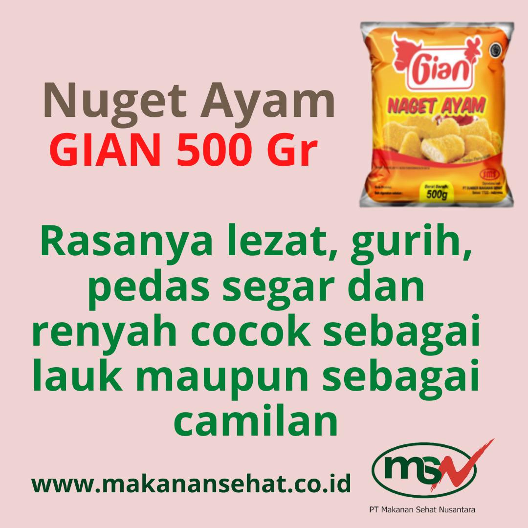 Nugget Ayam Gian 500 Gr rasanya lezat, gurih, pedas segar dan renyah cocok sebagai lauk maupun sebagai camilan