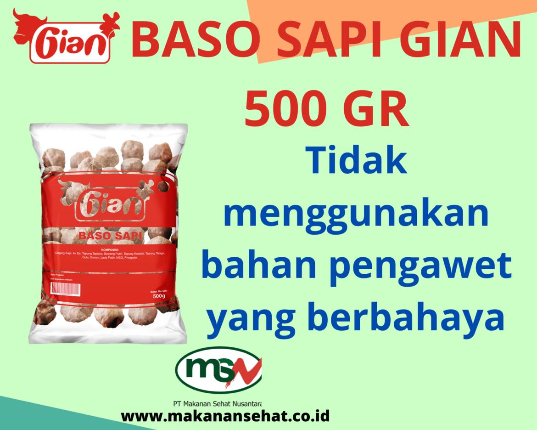 Baso Sapi Gian 500 Gr tidak menggunakan bahan pengawet yang berbahaya