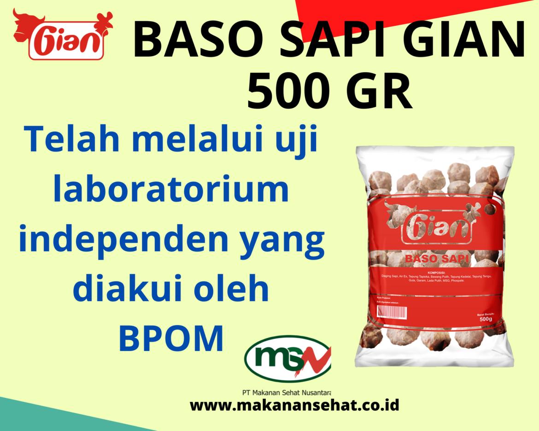Baso Sapi Gian 500 Gr telah melalui uji laboratorium independen yang diakui oleh BPOM