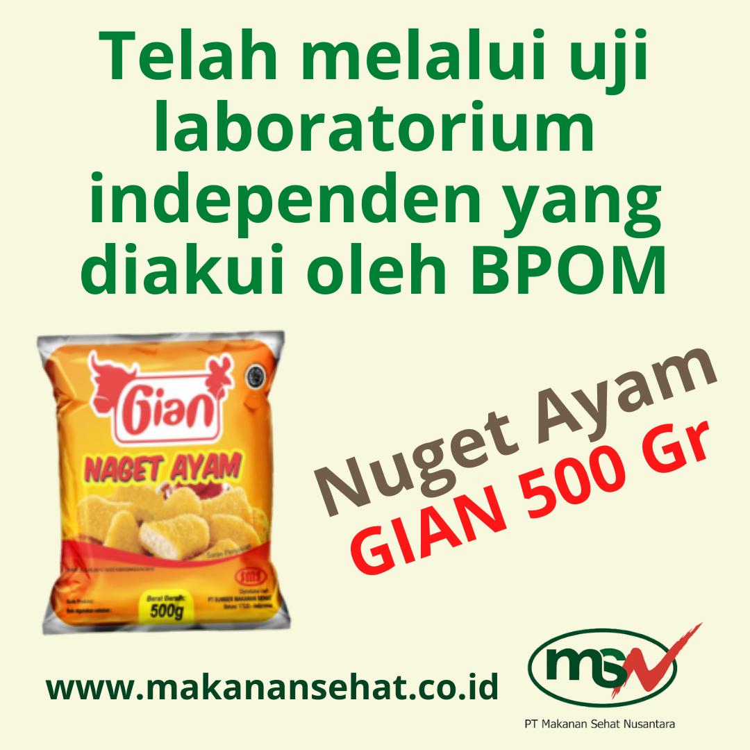 Nugget Ayam Gian 500 Gr telah melalui uji laboratorium independen yang diakui oleh BPOM