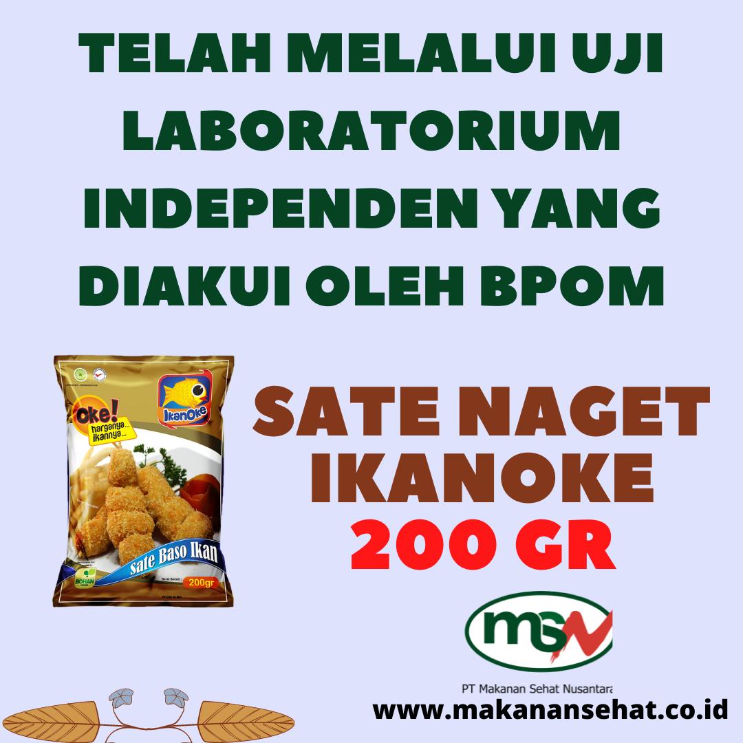 Sate Naget Ikanoke 200 Gr telah melalui uji laboratorium independen yang diakui oleh BPOM