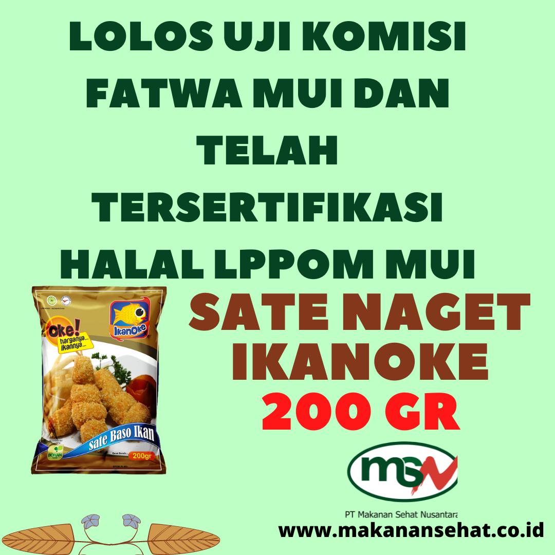 Sate Naget Ikanoke 200 Gr lolos uji komisi fatwa MUI dan telah tersertifikasi halal LPPOM MUI